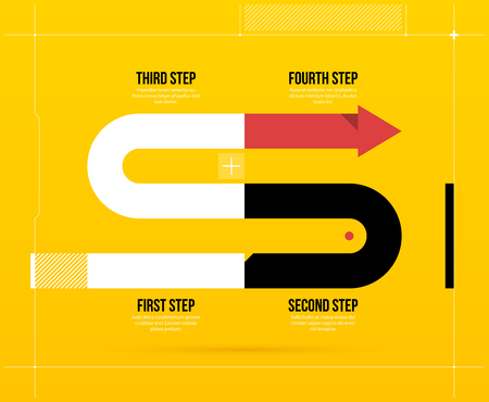 Arrow business layout with four steps in elegant techno style on bright yellow background.
