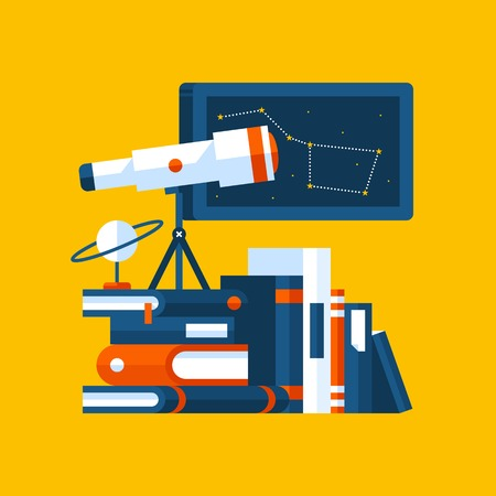 Colorful illustration about astronomy in modern flat style. College subject icon on yellow background. Books, poster with constellation, telescope. Illustration