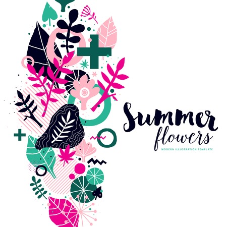 Summer background template with abstract and floral elements. Useful for advertising and invitations.
