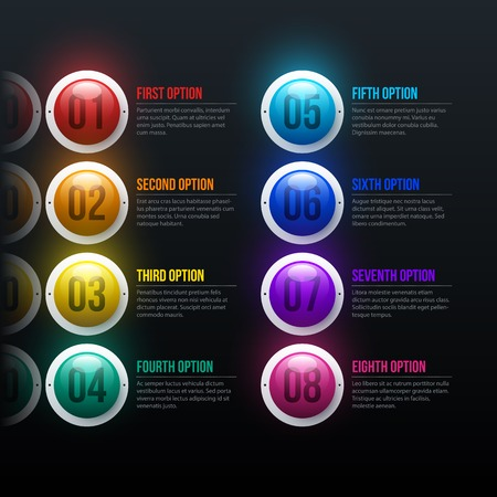 Menu with eight colorful spheres in elegant business style on black glossy background Stock Illustratie