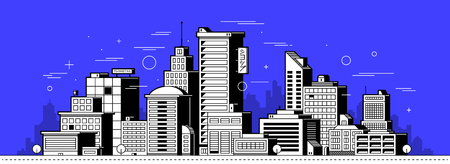 Modern city illustration. Towers and buildings in outline style on deep blue background Stock Illustratie