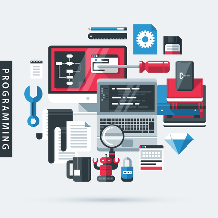 Modern illustration about programming in flat design style on gray background. Desktop computer, laptop, books, tools Stock Illustratie