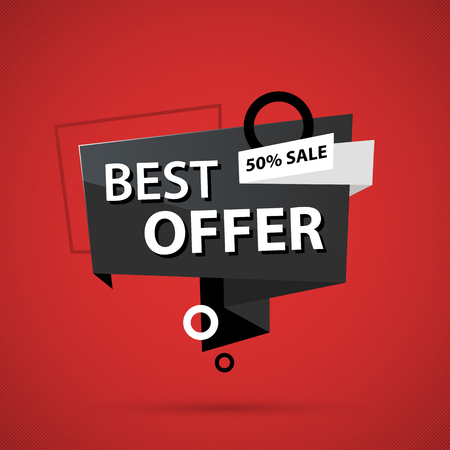 Best offer banner template in business origami style on deep red background Stock Illustratie