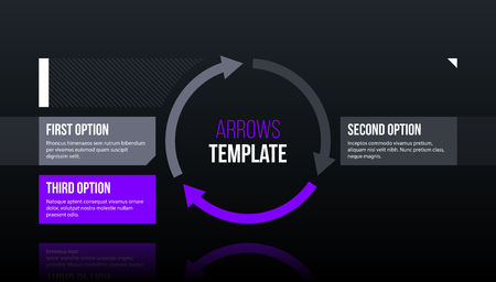 Round arrows template with three options on dark glossy background in elegant techno style. Illustration
