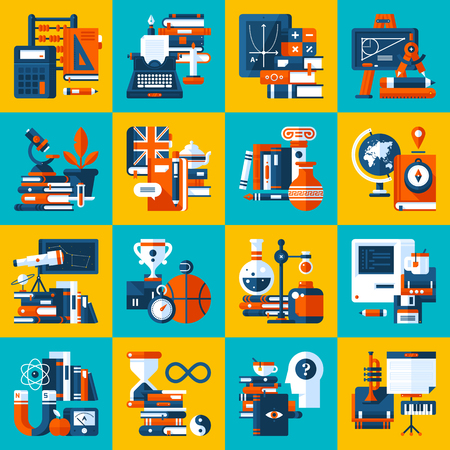 Big set of icons about education and college subjects. Modern flat style. Colorful illustrations. Illustration