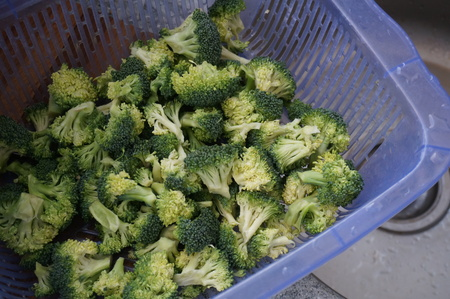 Fresh broccoli in a basket Stock Photo