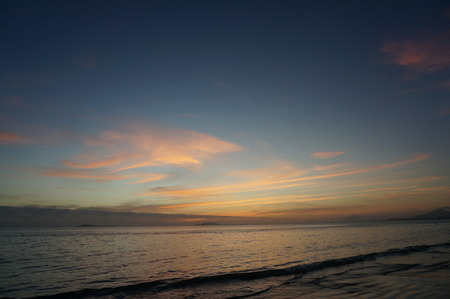 afterglow: Afterglow of sunset at the seaside