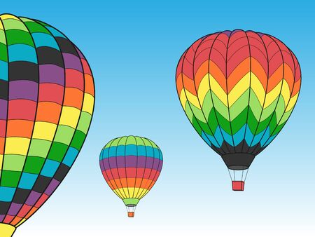 Hot Air Balloons in the Sky. Vettoriali