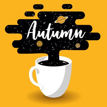 Autumn Design. Cup of Fresh Coffee with Galaxy on Yellow Background.