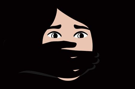 Hand covering Woman Mouth concept for Kidnapping or Domestic Violence. Illustration
