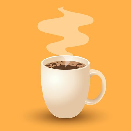 Cup of Fresh Coffee. Vector Illustration. Flat Style. Decorative Design for Cafeteria, Posters, Banners, Cards