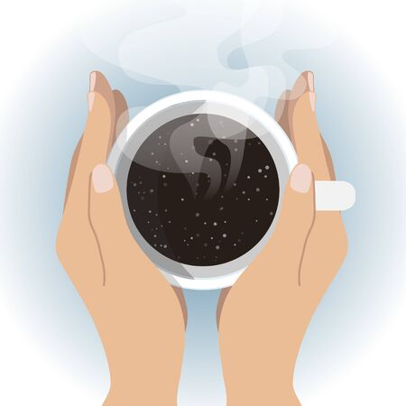 Cup of Fresh Coffee with Galaxy Background. Top view. Vector Illustration. Flat Style. Decorative Design for Cafeteria, Posters, Banners, Cards - Universe in a Cuo of Coffee.