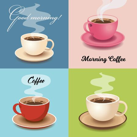 Set of Cards with Cups of Fresh Morning Coffee