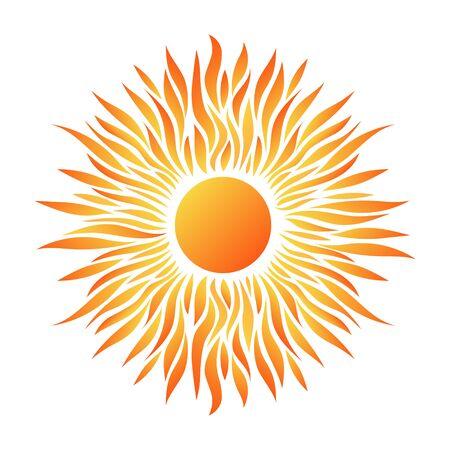 Hermosa tarjeta de verano con icono de sol y rayos