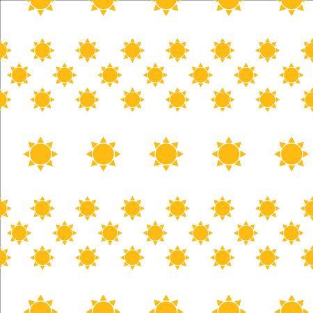Seamless Pattern with Summer Sun Simple Icons on White. Vector Illustration. Flat Style. Decorative Summer Design for Textile, Wrapping Paper, Wall Paper, Beautiful Backgound Decoration.. Stockfoto - 128593558