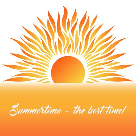 Summer Card with Sun and Text. Vector Illustration. Flat Style. Sunerise and Sunset. Decorative Summer Design. Иллюстрация