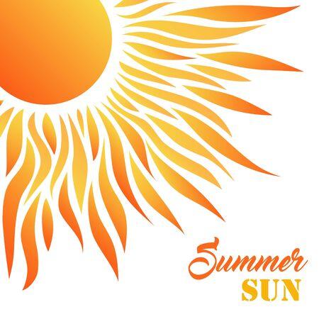 Carte de soleil d'été. Desigh décoratif pour les voeux de vacances