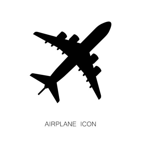 Airplane Black Icon isolated on White Background. Vector Illustration. Flan Design Style. Travel Sign. Standard-Bild - 140284721