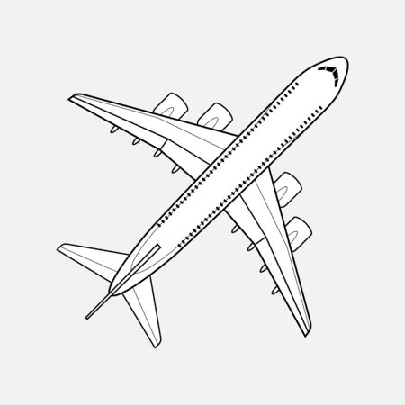 Airplane Icon isolated. Vector Illustration. Line Style. Travel Sign. Illustration