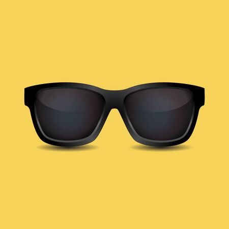 Black Sunglasses with Shadow Summer Icon Realistic Style