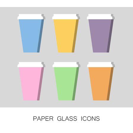 Set of Coffee Cup Icons Mockup Template Take Away Ilustração