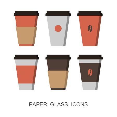Set of Coffee Cup Icons Mockup Template isolated on White Ilustração