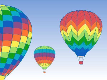 Set of Air Balloon Icons on Blue Sky with Clouds Vector Illustration