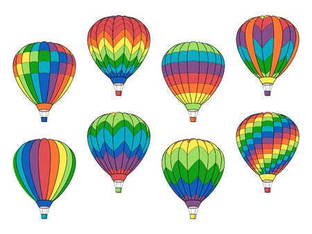 Set of Air Balloon Icons isolated on White
