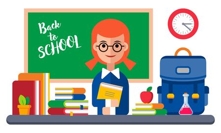 Back to School Card with Girl and Books. Vector Illustration. Flat Graphic Style. Decorative Design for Educantion, Classes, Invitations, Celebrations, School Equipment Banque d'images - 141172479