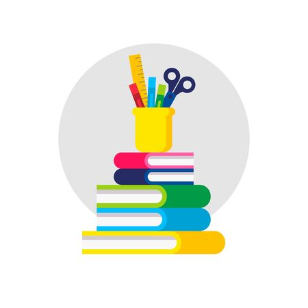 Back to School Icons. Book, Folder, Scissors, Pen, Ruler. Vector Illustration. Flat Graphic Style. Decorative Design for Educantion, Classroom, Holidays, School Equipment Shops and Sales Banque d'images - 141173417