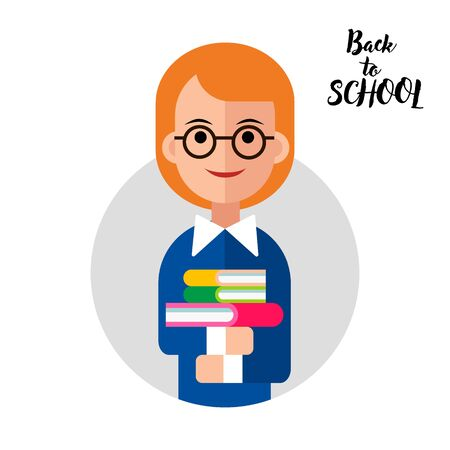 Back to School Card with Girl and Books Banque d'images - 141175232