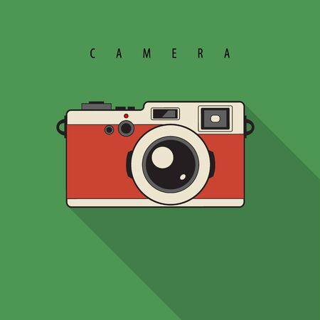 Retro Reflex Camera isolated. Vector Illustration. Realistic Style
