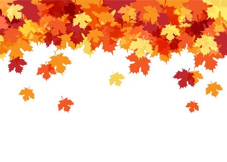 Hello Autumn Card with Maple Leaves Decorative Background Vettoriali