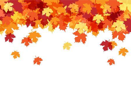 Bonjour carte d'automne avec fond décoratif de feuilles d'érable Vecteurs