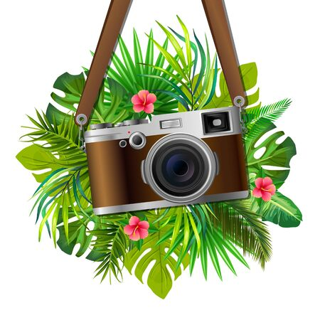 Retro Reflex Camera on Tropical Leaves Background. Vector Illustration. Realistic Style. Print Decorative Design for Travel Agences, Safari Excurtions, Shops, Web, Photo Labs, Photo Atelier.