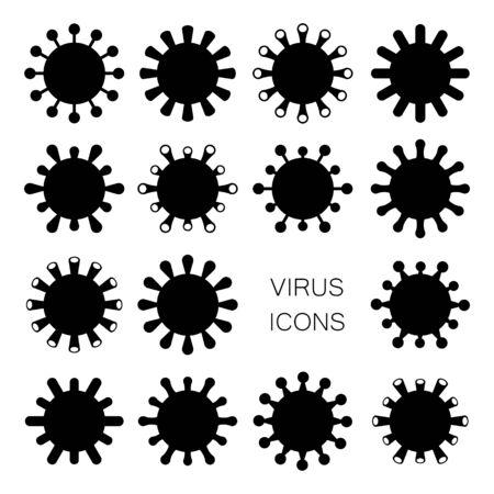 Set of Virus Icons isolated on White. Simple Balck Pandemic Coronavirus Covid Desease Sign