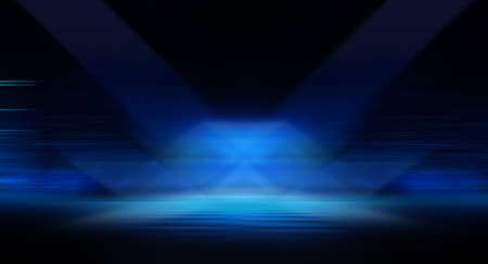Dark background with lines and spotlights, neon light, night view. Abstract blue background. Empty neon scene with rays, blur, night view.