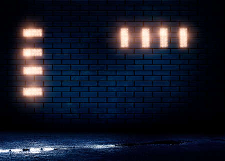Dark brick wall, blue neon light. Rays and glare of light in the dark. Night view of a dark street, abstract projection on an empty wall. Dark background of empty street, night city.