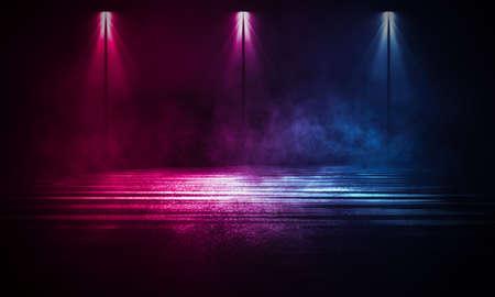 Light effect, blurred background. Wet asphalt, night view of the city, neon reflections on the concrete floor. Night empty stage, studio. Dark abstract background, dark empty street. Night city. Zdjęcie Seryjne