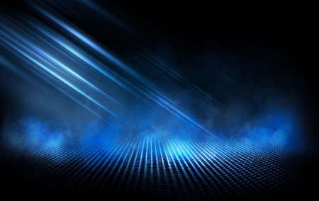 Dark street, wet asphalt, reflections of rays in the water. Abstract dark blue background, smoke, smog. Empty dark scene, neon light, spotlights. Concrete floor Reklamní fotografie