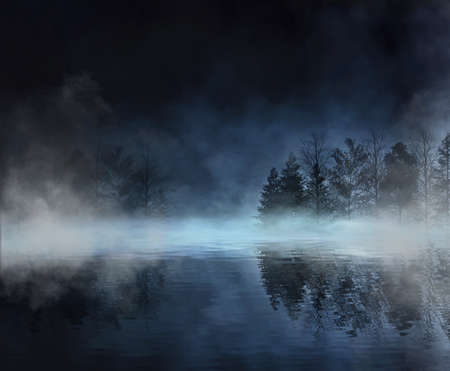 Dark abstract winter forest background. Wooden floor, snow, fog. Dark night background in the forest with moonlight. Night view, magic. Fantasy forest.