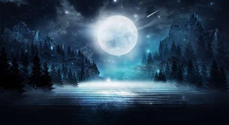 Dark abstract winter forest background. Wooden floor, snow, fog. Dark night background in the forest with moonlight. Night view, magic. Fantasy forest. Standard-Bild