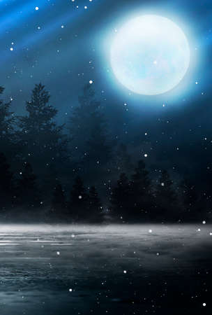 Dark abstract winter forest background. Wooden floor, snow, fog. Dark night background in the forest with moonlight. Night view, magic. Fantasy forest. Stock Photo