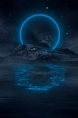 Neon landscape, night view. Futuristic fantasy night landscape with abstract landscape and island, moonlight, radiance, moon, neon. Dark natural scene with light reflection in water. Neon space galaxy portal. Reklamní fotografie