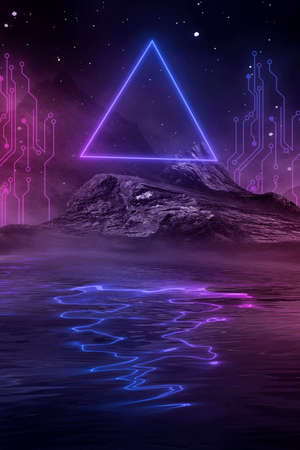 Neon landscape, night view. Futuristic fantasy night landscape with abstract landscape and island, moonlight, radiance, moon, neon. Dark natural scene with light reflection in water. Neon space galaxy portal.