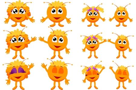 Orange alien (vector character) Иллюстрация