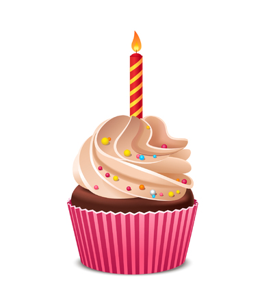 Birthday cupcake with burning candle. Stock fotó - 104185154
