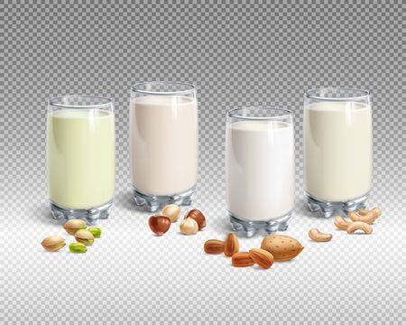 Vegan nut milk in glass on transparent background
