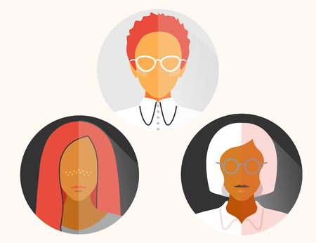 group womans business latinos flat material design icon