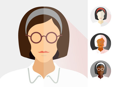 yang modern group girl flat material design icon